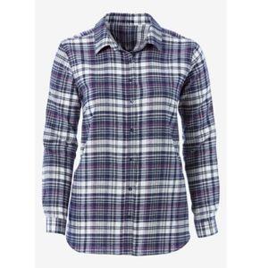 New! Ellos Blue Magenta Plaid Cotton Long Sleeve